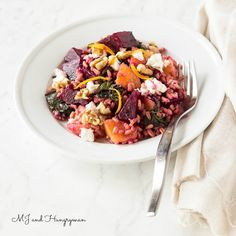 Orange, Beet Green & Farro Salad (I have also made it without the beets since we were having beets in another side dish - delicious! ) -M