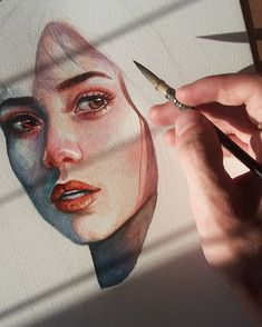 Pin by gloria on art inspo in 2019 sanat günlüğü, çizimler, Inspiration Art, Art Inspo, Creative Inspiration, Watercolor Portraits, Watercolor Paintings, Painting Portraits, Watercolor Drawing, Watercolours, Photographie Portrait Inspiration