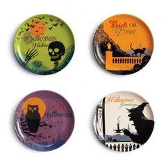 Set of four ceramic Halloween plates $29