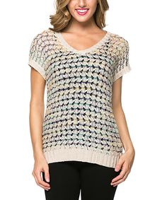 Beige Loose-Knit V-Neck Sweater
