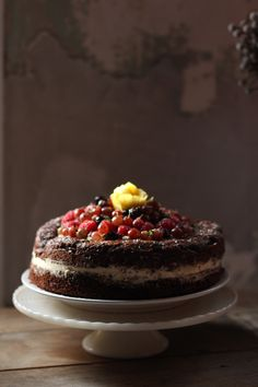 Chocolate Zucchini Layer Cake with Gooseberries | With The Grains