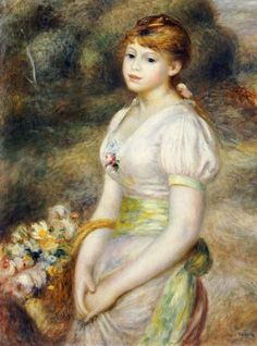 ♔ Young girl with a basket of flowers ~ by Renoir