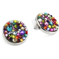 """TARINA TARANTINO """"Jubilee"""" Crystallized Round Post Earrings - designer shoes, handbags, jewelry, watches, and fashion accessories 