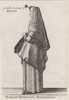 Wenceslaus Hollar | Mulier Generosa Brabantica / Gentle woman of Brabant, Wenceslaus Hollar, 1643 | Vrouw uit Brabant, in profiel naar links, met lang haar op de schouders. Schouderkraag met kant en een lange sluier (huik??) met 'houpette' op het hoofd.  Het overkleed is tot kniehoogte opgeschort, zodat het onderkleed zichtbaar is. Schoenen met hakken.