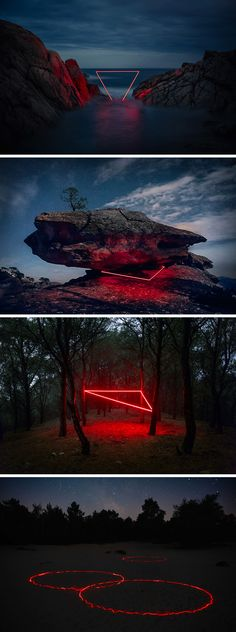 Geometric Light Installations By Nicolas Rivals Bathe The - Geometric Light Installations By Nicolas Rivals Bathe The Spanish Countryside In Red As Part Of His Project La Linea Roja Paris Based Photographer Nicolas Rivals Constructed Bright Red Light Conf Light Painting, Painting Art, Instalation Art, Montage Photo, Neon Lighting, Unique Lighting, Photomontage, Marvel Universe, Art Photography