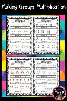 This group of 10 worksheets are great for multiplication practice. Students create number sentences by looking at the picture groups. Each page contains multiple items in the form of pictures and the multiplication sentence: _ groups of _ = _. Numbers range from 1-20. © Tales From Miss D