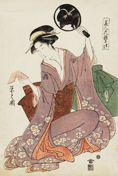 "blackcoffeecinnamon: ""Choubunsai Eishi (1756-1829) 鳥 文 斎 栄 之 Toyohina 豊 ひ な, 1793 Коллекция Красавицы с Faces Прекрасный Как Цветы 美人 花顔 集"""