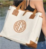 Lorie Leather and Canvas Monogrammed Tote Bag. Want this to carry my papers/ laptop/ books in for teaching!
