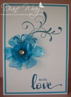Pixie's Crafty Workshop: Less is More - recycling Love how she recycled packaging plastic into a gorgeous center piece flower Less Is More, Cool Cards, Pixie, Stamping, Embellishments, Card Ideas, Centerpieces, Recycling, Card Making
