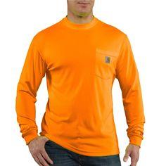 Carhartt Men's Brite Orange High Visibility Color Enhanced Long Sleeve Tee