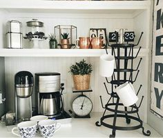 Black and white coffee station