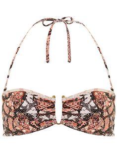 Snake print embellished bikini top  #DorothyPerkins
