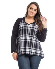 Hot Ginger Black Plaid Long Sleeves Hooded V-Neck Pullover Knit Top Size 1XL-3XL #HotGinger #KnitTop #Casual