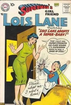 Superman has love-child! Best Comic Books, Vintage Comic Books, Marvel Comic Books, Vintage Comics, Comic Books Art, Comic Art, Book Art, Superman Girlfriend, Dc Comics