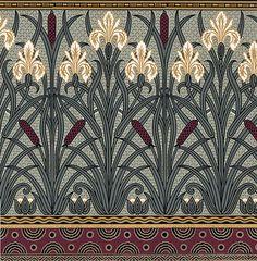 Art Nouveau Floral Wallpaper | Fenway Iris Frieze | Bradbury & Bradbury