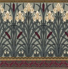 Art Nouveau Floral Wallpaper | Fenway Iris Frieze | Bradbury & Bradbury