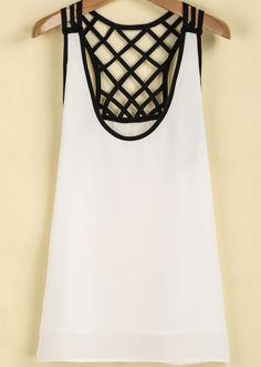 White Sleeveless Contrast Net Chiffon Vest - Sheinside.com