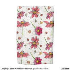Ladybugs Bees Watercolor Flowers Hand Towels
