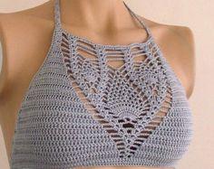 Crochet Halter Top Pattern Bikini Pattern by LOVEKNITCROCHET