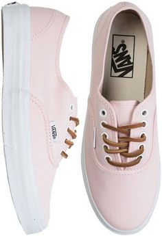 Light pink leather lace vans