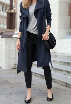 Blue trench coat - street style
