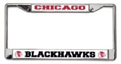 Chicago Blackhawks Chrome License Plate Frames - Set of 2 by Rico. $24.50. Show everyone who you root for with this Chicago Blackhawks chrome license plate frame! Features your favorite team's name and logo, and has pre-drilled holes for easy mounting. The chrome frame is very durable and will last for a long time! They are also a great gift for a fan. Made by Rico.
