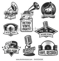 Set of retro party emblems. Design elements for logo, label, emblem, sign, badge. Vector illustration