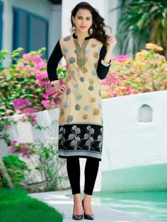 Victoria Beige   Black Cotton Printed Kurti -  355e12822