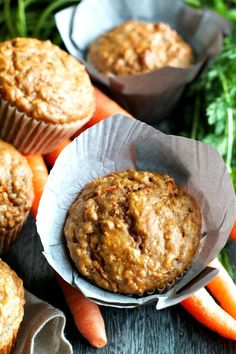 You won't find any butter or oil in these ridiculously soft and tender Carrot Oatmeal Greek Yogurt Muffins! What you will find is plenty of naturally sweetened, carrot-y goodness in each bite!   runningwithspoons.com #healthy #muffins #breakfast #snack