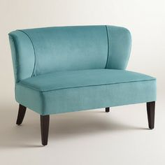 Caribbean Blue Quincy Loveseat - contemporary - Love Seats - Cost Plus World Market