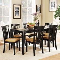 Black Seven Piece Dining Set - Slat Chair Back