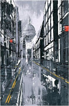 St Paul's Street - a framed and signed, limited edition giclee on aluminium by popular cityscape artist Paul Kenton. The pice comes from Paul's new collection entitled Metallique and was painted onto sheet metal.