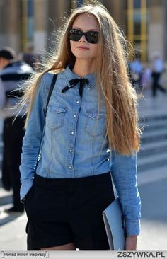 jeans shirt + bow