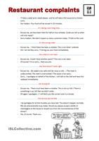 This worksheet includes a study part (what the waiter can say, what the customer can say) and an exercise to order the events at a restaurant. Then students complete a menu and order sentences using the prompts. - ESL worksheets