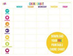 {Free Printable} Children's Chore Chart » Perideau Designs