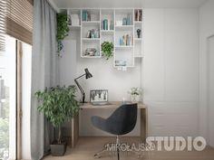 gabinet-biuro-domowe-pracownia-jasna-szara-drewno-półki - zdjęcie od MIKOŁAJSKAstudio - Gabinet - Styl Skandynawski - MIKOŁAJSKAstudio