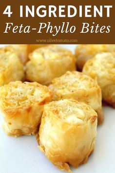 Feta Phyllo Bites Tiropita - These make ahead crunchy Greek feta cheese-phyllo bites will satisfy everybody and they are so easy to make. Phyllo Recipes, Snack Recipes, Cooking Recipes, Snacks, Diet Recipes, Healthy Recipes, Greek Appetizers, Cheese Appetizers, Tiropita Recipe