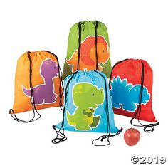 Have a roaring good time by including these Little Dino drawstring backpacks in your birthday party supplies. Looking for dinosaur party ideas? Fill these ...