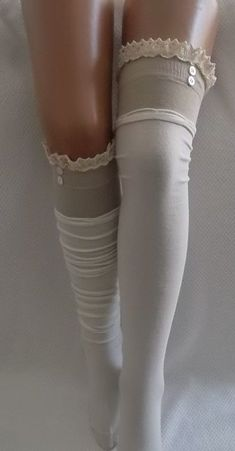Ivory High Knee Socks Boot Socks Lace Over