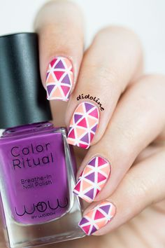WowbyWojooh-Triangles ~ using Born Pretty plate QA-92 to create the stamped decals, coloured with the Wojooh polishes and finished with matte topcoat ~ by Didoline's Nails