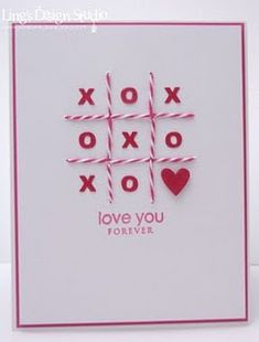 handmade Valentine card ... tic-tac-toe theme ... baker's twine lines ... punched x's and o's ... clean and simple look ... like it!!