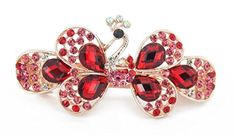 Yeshan Fashion Women Full Crystal and Rhinestones Decor Peacock Barrette Hair Clip Red * You can get additional details at the image link.(This is an Amazon affiliate link and I receive a commission for the sales)