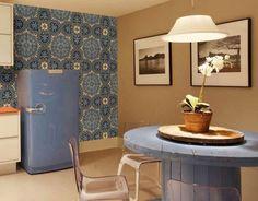 cozinha azul geladeira azul