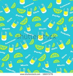 Seamless alcohol drinks vector pattern. Sketched tequila with lime and salt, green background.
