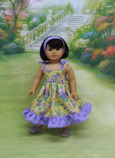 Garden Party  sundress for American Girl doll by cupcakecutiepie