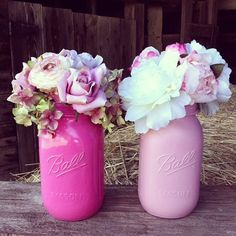 Mason jar centerpieces | Mason Jar Centerpiece Pink Mason Jar Country by DownInTheBoondocks, $7 ...