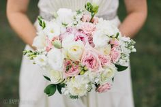 Beautiful pink, green, and white bridal bouquet by Tricia Barksdale. www.triciabarksdale.com