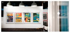 Vintage posters in white box frames