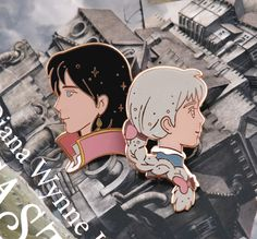 "Sophie Hatter and Howl Jenkins portraits from the wonderful animation mastepiece ""Howl's moving castle"" from Studio Ghibli.  I like to think that together, they look like the moon and the night.    These hard enamel pins are:      4 cm tall (Sophie) and 3,5 cm tall (Howl)    Rose gold plated    B..."