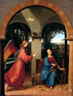 Annunciation Julius Schnorr von Carolsfeld (German, Oil on canvas. This painting is one of a series of Marian subjects ordered from the Nazarenes by the. Renaissance Paintings, Renaissance Art, Religious Paintings, Religious Art, Franz Xaver Winterhalter, Fra Angelico, Archangel Gabriel, Sainte Marie, Holy Mary